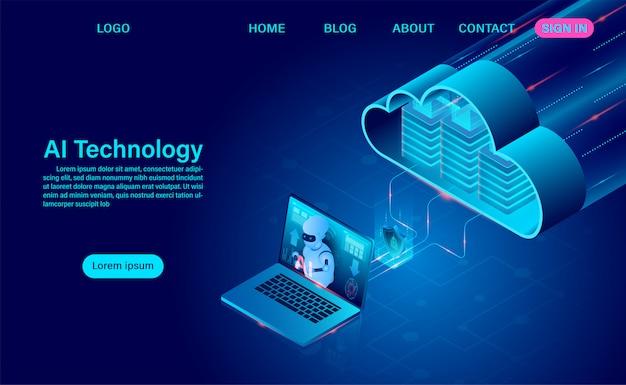 Robotertechnologie mit künstlicher intelligenz. systemanalyse-cloud-technologie und big-data-verarbeitung zum schutz des datensicherheitskonzepts. isometrisches neon dunkel