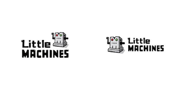Robotertechnologiekarikaturmaskottchenlogoschablone premium-vektor