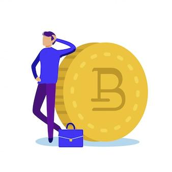 Robuster welt-kryptowährungs-cartoon. man casual wear verlässt sich auf goldmünze mit bitcoin-zeichen. finanzinstrumente des rentabilitätsportfolios. illustration auf weißem hintergrund.