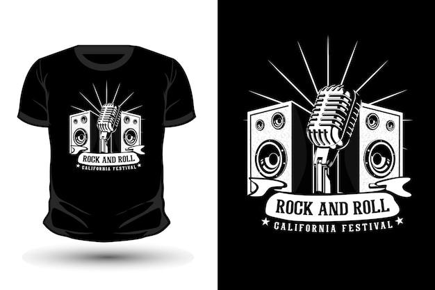 Rock and roll california festival typografie shirt design