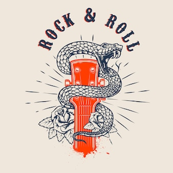Rock and roll. gitarrenkopf mit schlange und rosen. element für plakat, karte, banner, emblem, t-shirt. illustration