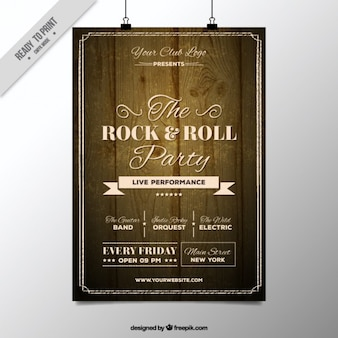 Rock and roll party holzplakat