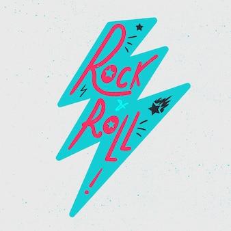 Rock and roll schriftzug für t-shirt, aufkleber, druck, stoff, stoff. vintage handgezeichnete musikabzeichen. retro hipster musikalisches soundemblem für karte, konzertflieger, fest, postkarte, etikett, poster. vektor