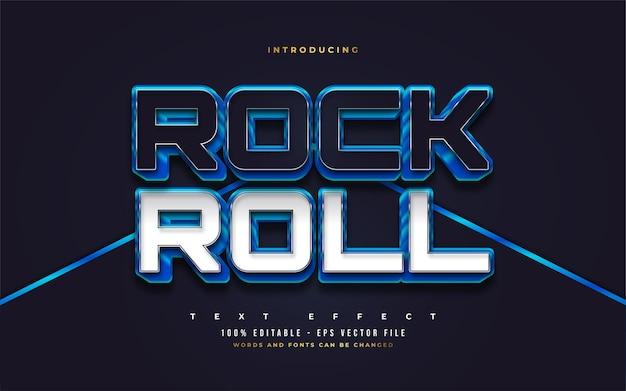 Rock and roll text in blau, weiß und schwarz mit 3d-prägeeffekt. bearbeitbare textstileffekte