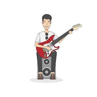 Rock-and-rollgitarrist, der auf einem lautsprecher sitzt