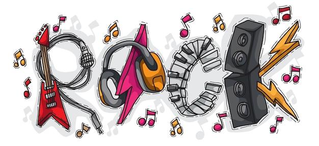 Rock bestehend aus musikinstrumenten mit hand gezeichneten stil