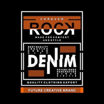 Rock-denim-grafik auf t-shirt design konzentriert