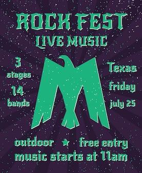 Rock fest live-musik-party invertiert gefaltete flügel adler silhouette symbol plakat einladung abstrakte vektor-illustration