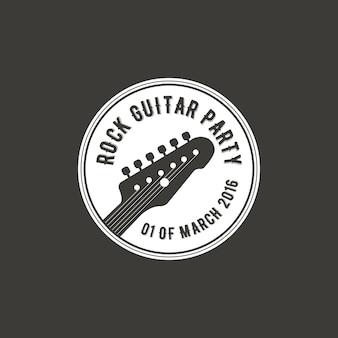 Rock-gitarren-party-vektor-label, abzeichen, emblem-logo mit musikinstrument. vektorillustration auf lager lokalisiert auf dunklem hintergrund.