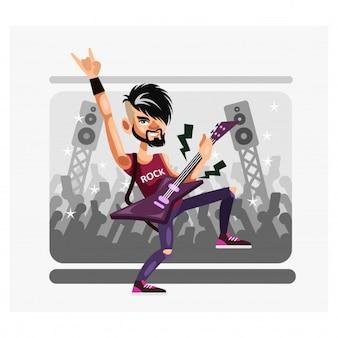 Rock gitarrist musiker sind in aktion auf der konzertbühne zeichentrickfigur
