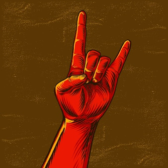 Rock hand zeichen geste