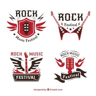 Rock-logo-kollektion mit flachem design