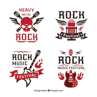Rock-logo-kollektion mit flachem design