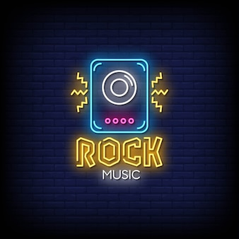 Rock music neon signs style text