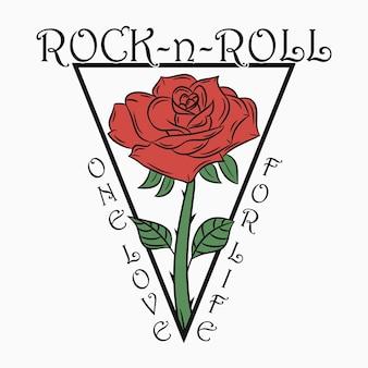 Rock'n'roll-druck mit rose rockmusik-grafik mit einem text aus der liebe zum leben