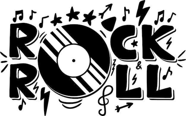 Rock'n'roll-hand gezeichnete phrase