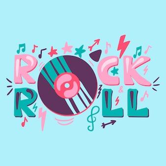 Rock n roll handgezeichnete farbbeschriftung