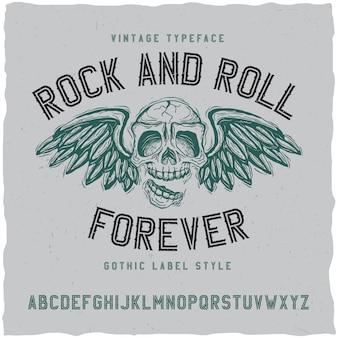 Rock'n'roll-label-schriftart. gut in jedem vintage-etikettendesign zu verwenden.