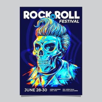 Rock'n'roll-musikfestival oder ereignisschablone mit pompadour-frisurschädelkopfillustration.