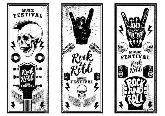 Rock'n'roll party flyer vorlage. weinlesegitarren, punkschädel, rock'n'roll-zeichen auf grunge-hintergrund. illustration