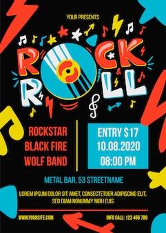 Rock'n'roll party plakat vorlage
