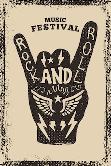 Rock'n'roll-partyplakatschablone. rock'n'roll-zeichen auf grunge-hintergrund. illustration
