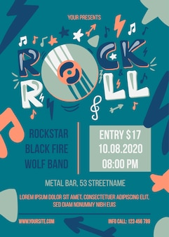 Rock'n'roll-partyplakatschablone. unterhaltungsveranstaltung web-banner. musikkonzertbroschüre
