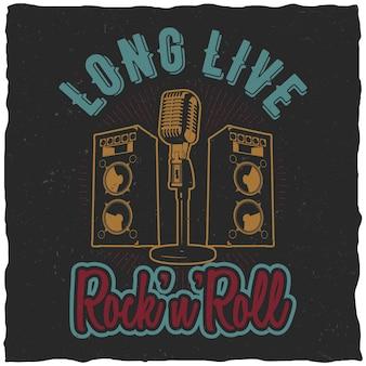 Rock'n'roll poster mit worten es lebe rock'n'roll für t-shirt zu entwerfen