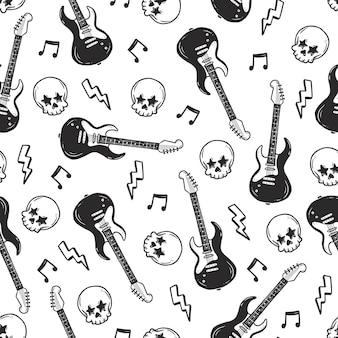 Rock n roll punk-musik nahtloses muster Premium Vektoren