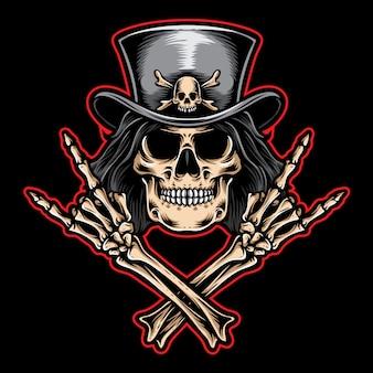 Rock'n'roll-schädel-vektor-logo