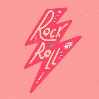Rock'n'roll-schriftzug. vintage hand gezeichnete musik abzeichen.