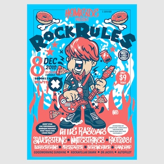 Rock rules blue festival-poster