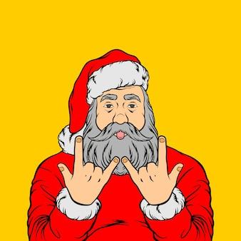 Rock santa zu weihnachten