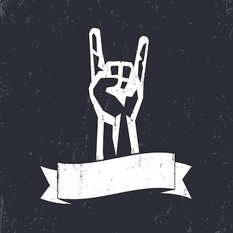 Rock-schild, handhorn, rock-konzert-geste, weiß auf dunkel, vektor-illustration