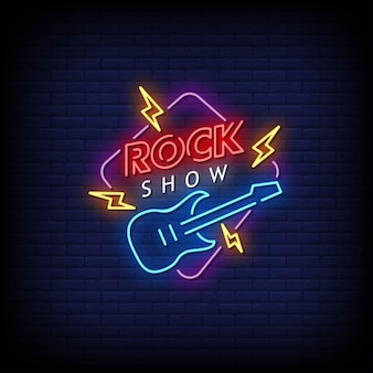 Rock show neon signs style text