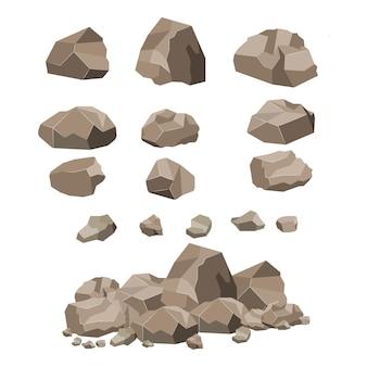 Rock stein großer satz cartoon