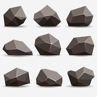 Rock-stein-set. steine und felsen im isometrischen 3d-flachstil. set aus verschiedenen felsbrocken