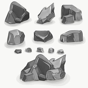 Rock stone big set cartoon. steine und felsen