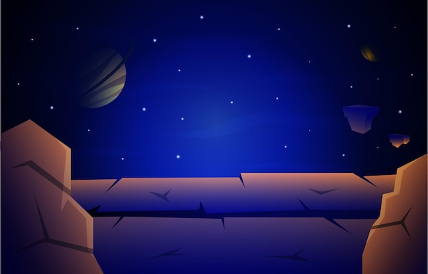 Rock stone planet star sky space universe exploration illustration