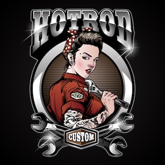 Rockabilly pin up girl hot rod service