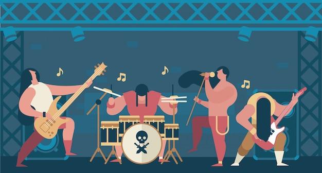Rockband-illustrations-flacher vektor
