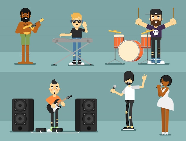 Rockband-musikgruppe mit musikern