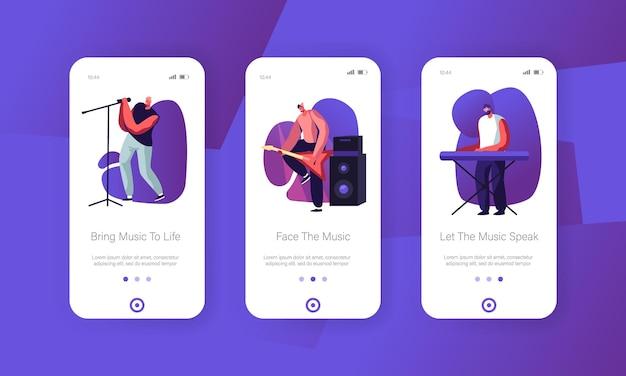 Rockband spielt auf der bühne mobile app onboard screen set