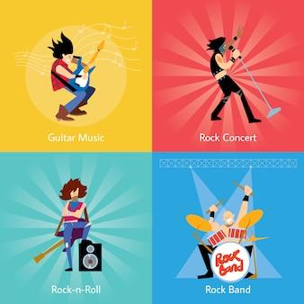 Rockbandmusik-gruppenillustration