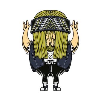 Rocker charakter musik cartoon illustration art design