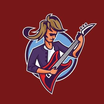 Rocker, der gitarre spielt. konzeptkunst des rock'n'roll im cartoon-stil.