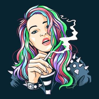 Rocker girl rauchte und trug eine stacheljacke