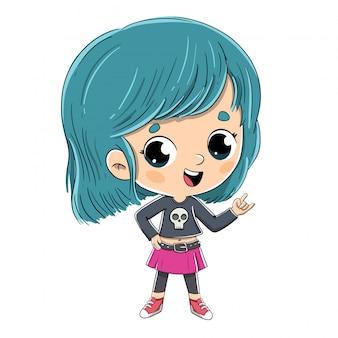 Rocker mädchen mit blauen haaren