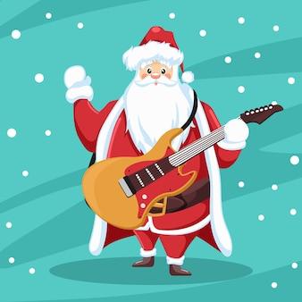 Rocker santa claus mit gitarre