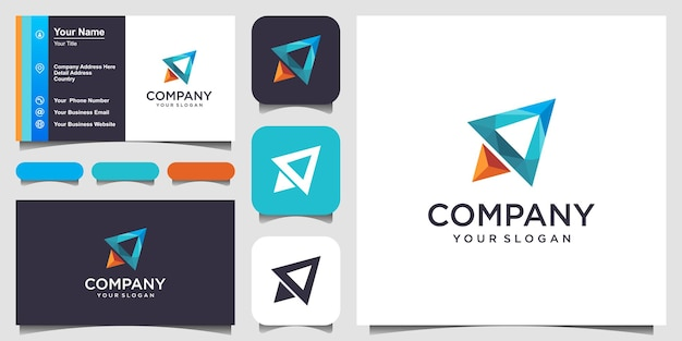 Rocket abstraktes logo-design und visitenkarte